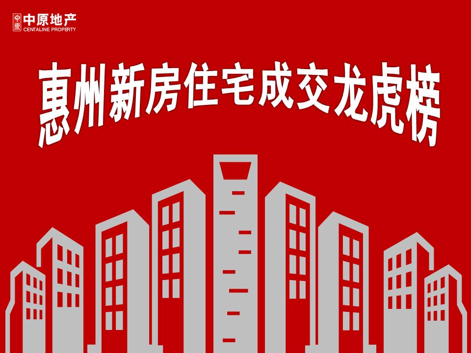中原重磅发布 | 2018年1月惠州新房住宅成交龙虎榜